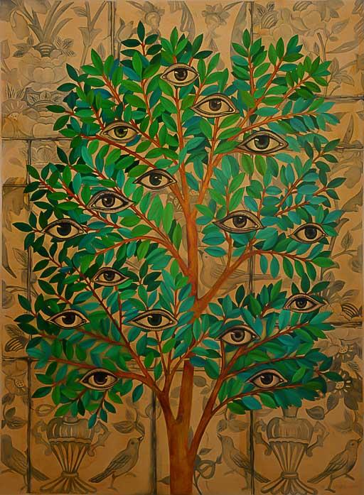 تصویر شماره یک از نمایشگاه در احاطه درختان